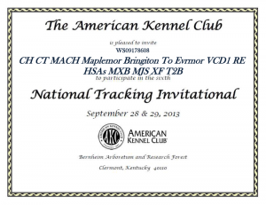 Maplemor Rottweilers invite to the 6th Annual AKC Tracking Invitational